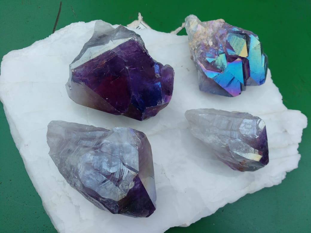 Stones from Uruguay - Titanium Coated Amethyst Quartz Crystal Points