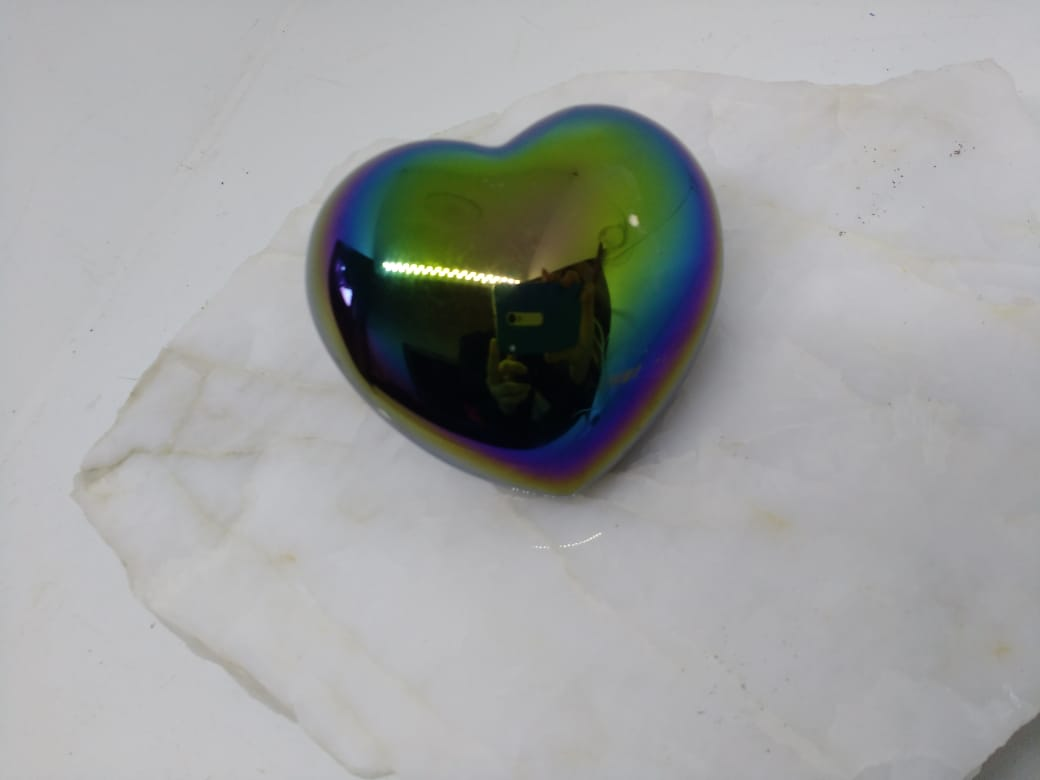 Stones from Uruguay - Polished Angel Aura Titanium Coated Black Obsidian Heart