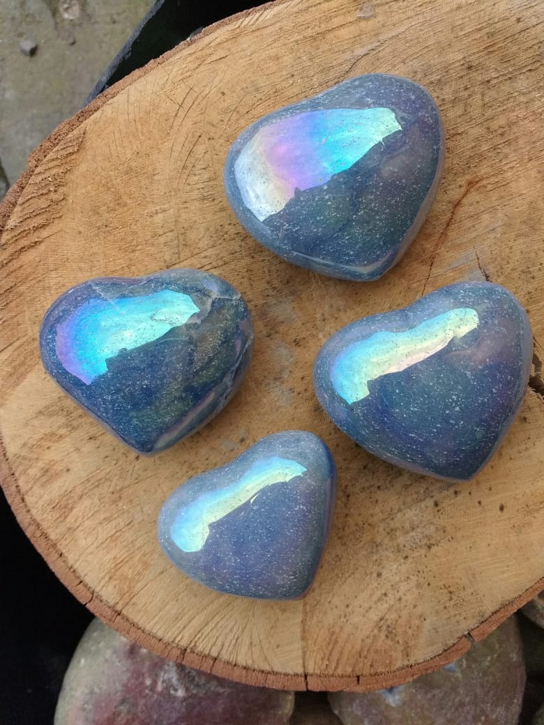 Stones from Uruguay - Polished Angel Aura Titanium Coated Blue Quartz  Hearts