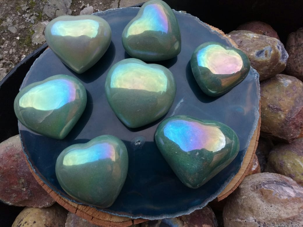 Stones from Uruguay -  Angel Aura Titanium Coated Green Quartz  Hearts