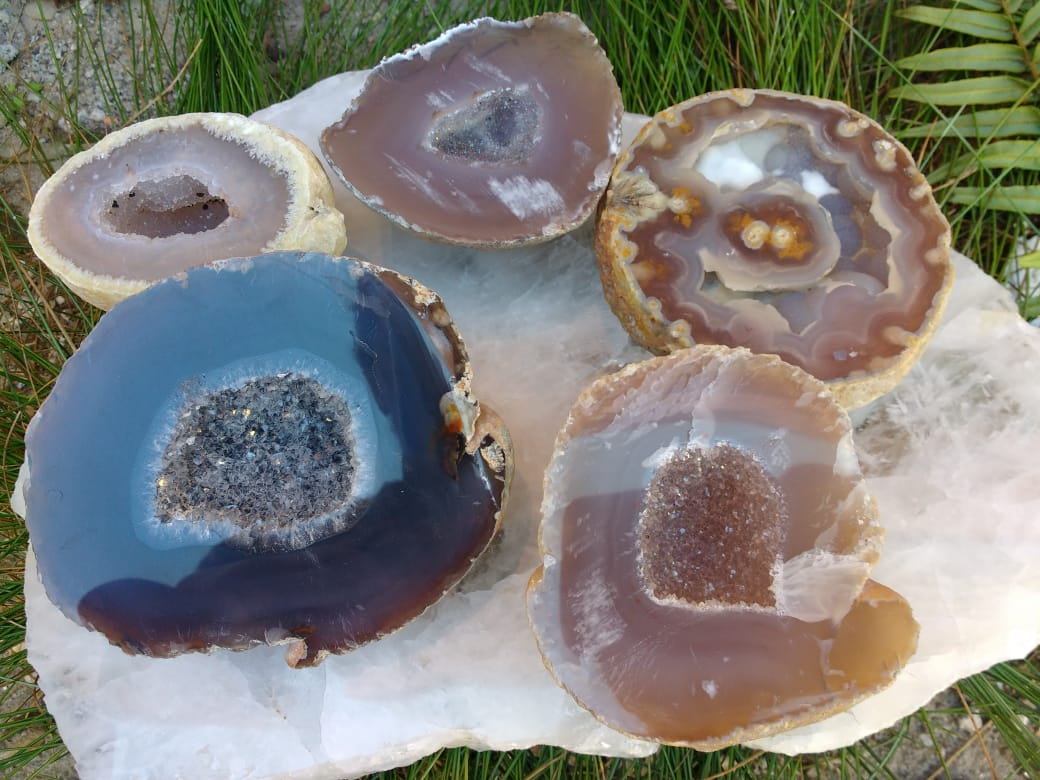 Stones from Uruguay - Polished  Natural Agate Druzy Geode