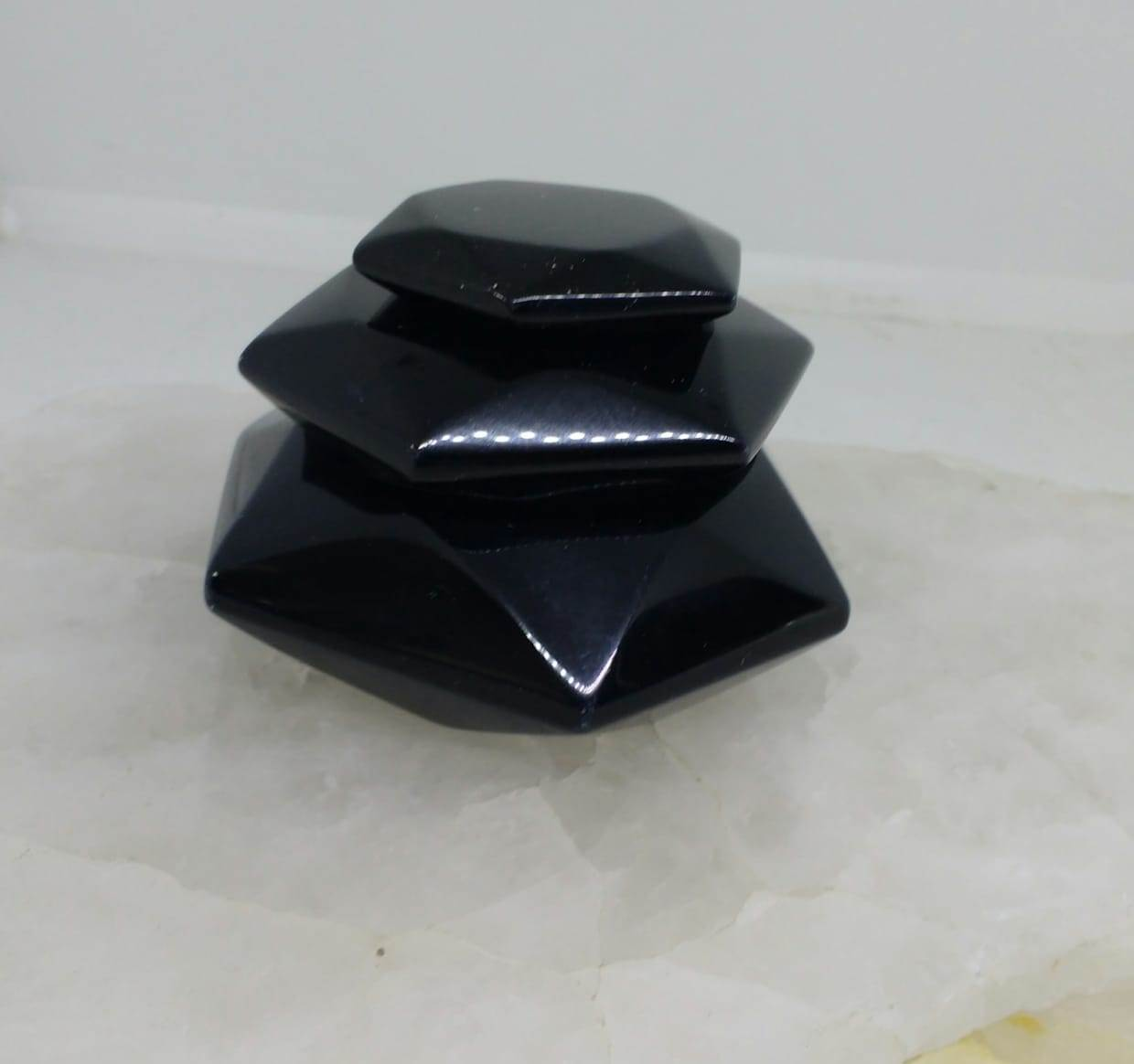 Stones from Uruguay -  Hexagon Black Obsidian Prism for Metaphysical, Energy Stone, Chakra, Reiki, Meditation