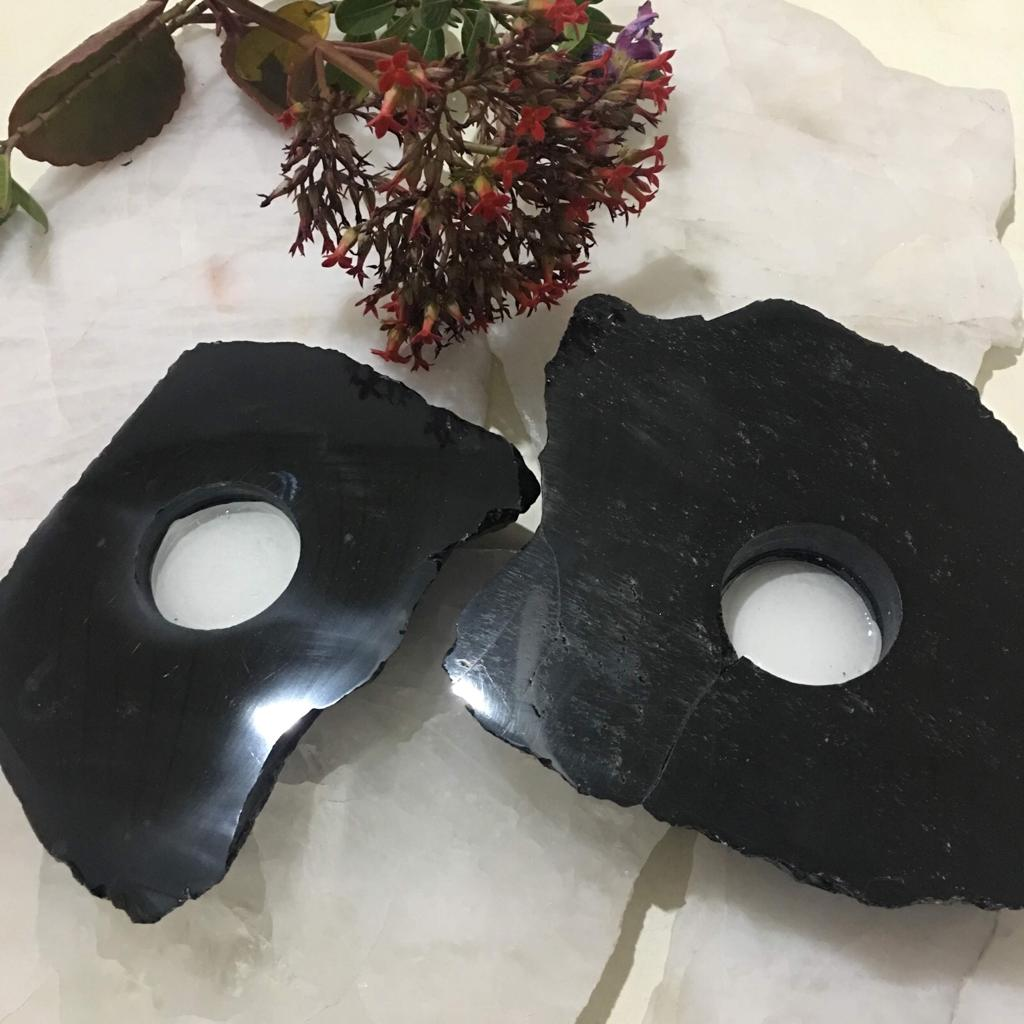 Stones from Uruguay - Polished Black Obsidian Candle Holder with Rough Edges and  polished Surface