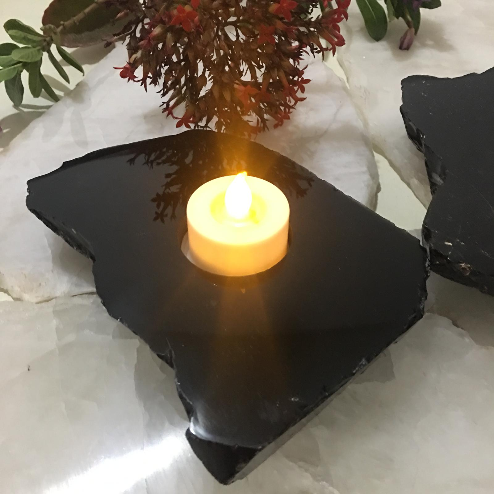 Stones from Uruguay - Black Obsidian Slice Candle Holder