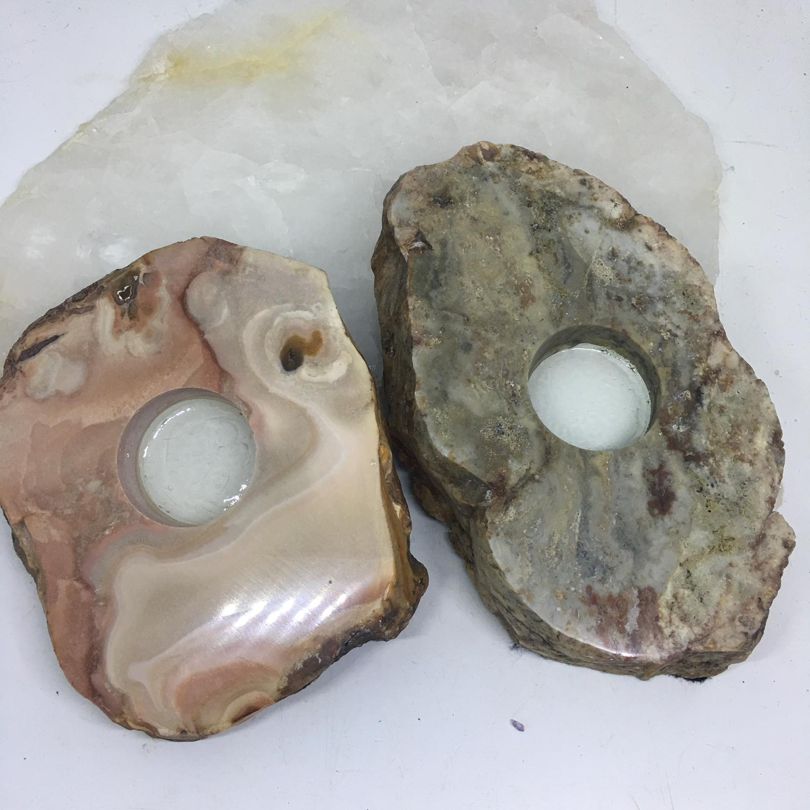 Stones from Uruguay - Pampa Cream Jasper Slice Tealight Candle Holder
