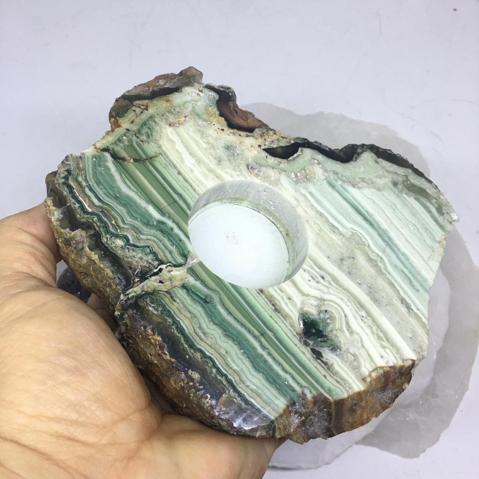 Stones from Uruguay - Pampa Green Jasper Slice Candle Holder