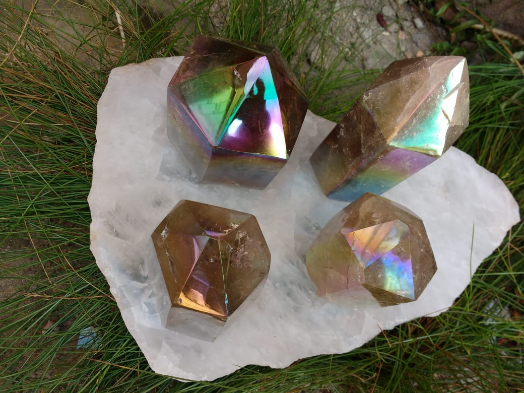 Stones from Uruguay - Angel Aura Titanum Coated Smoky Quartz Point  for Meditation, Spiritual Work, Reiki Grids