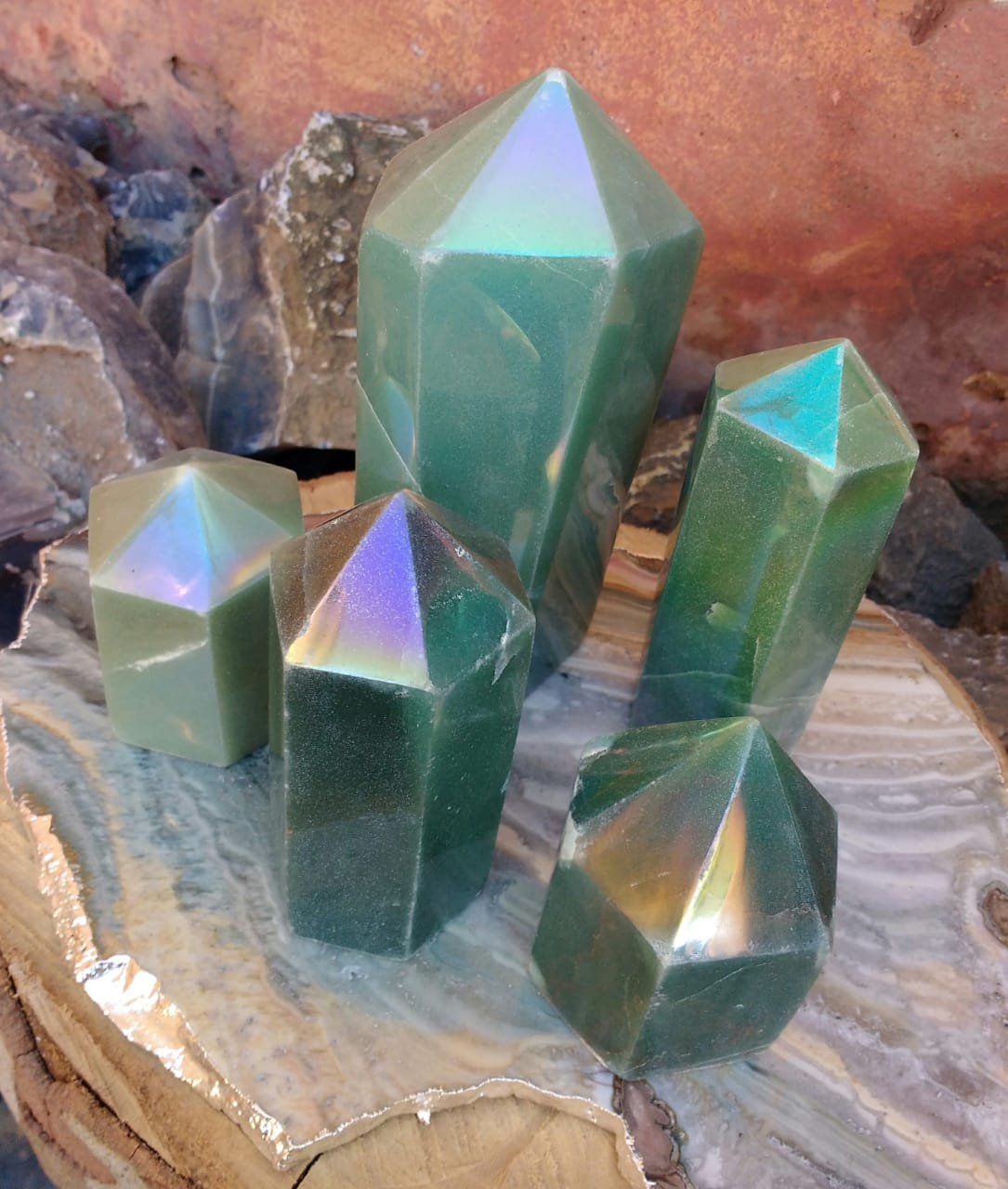 Stones from Uruguay -  Angel Flame Aura Green Aventurine Points - Angel  Royal Aura Green Quartz Points -  Titanium Aura Coated Green Quartz Points
