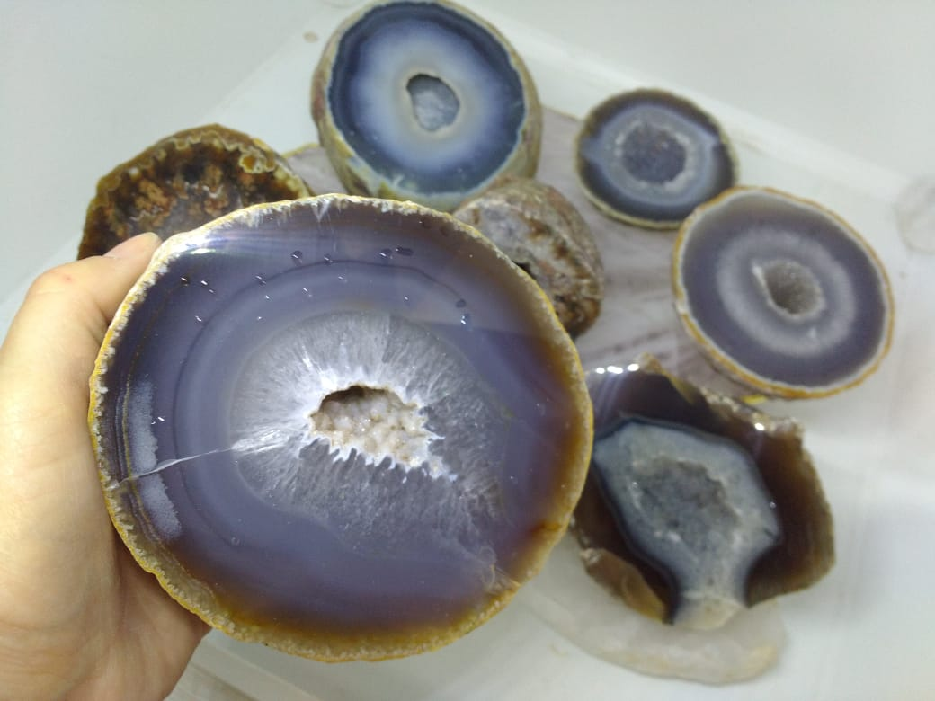 Stones from Uruguay - Polished Agate Geode Druzy