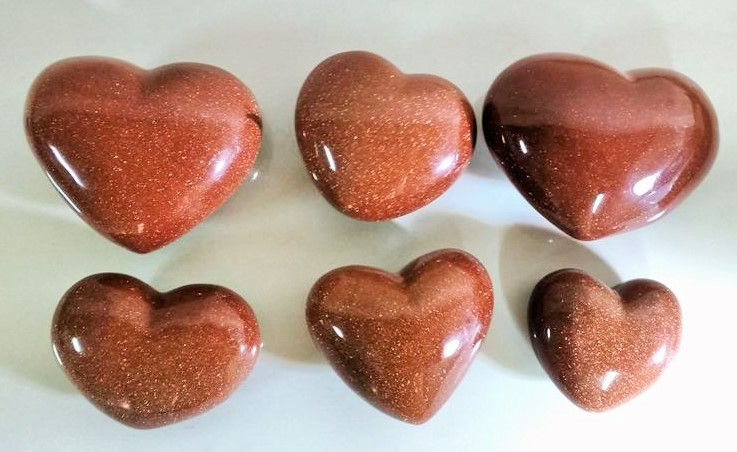 Stones from Uruguay - Red Goldstone Hearts for Metaphysical and Decoration