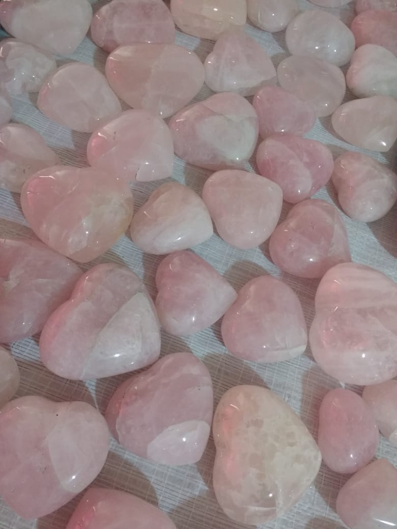 Stones from Uruguay - Rose Quartz Hearts for Decoration, Gift and Home