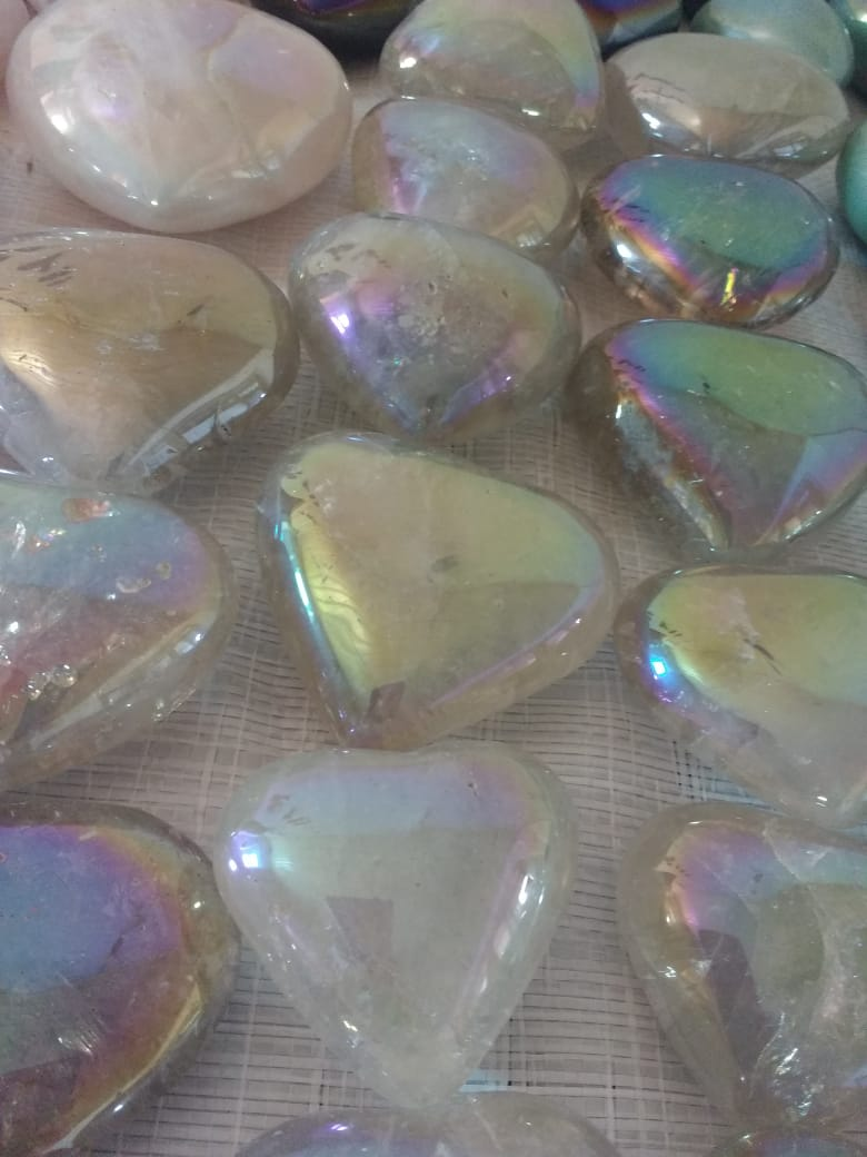 Stones from Uruguay - Angel Aura Titanium Coated Clear Quartz  Crystal Hearts