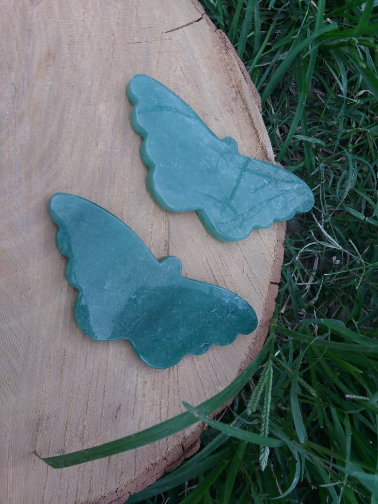 Stones from Uruguay - Green Aventurine Butterfly III - Green Quartz Butterflies III
