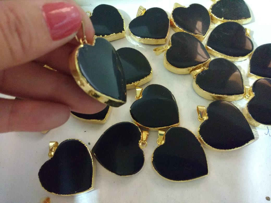 Stones from Uruguay - Black Obsidian Heart Pendants - choose your stone