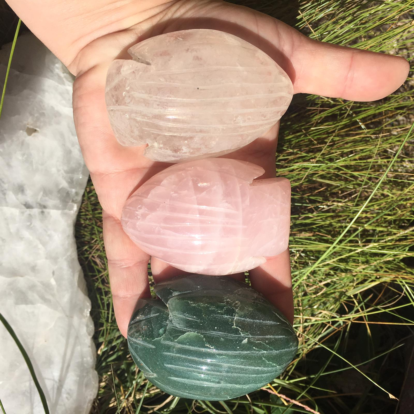 Stones from Uruguay - Rose Quartz Fish Cabochon  - Clear Quartz Fish Cabochon -  Green Quartz Fish Cabochon