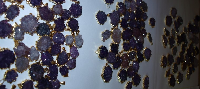 Stones from Uruguay - Amethyst Roses with Electroplating