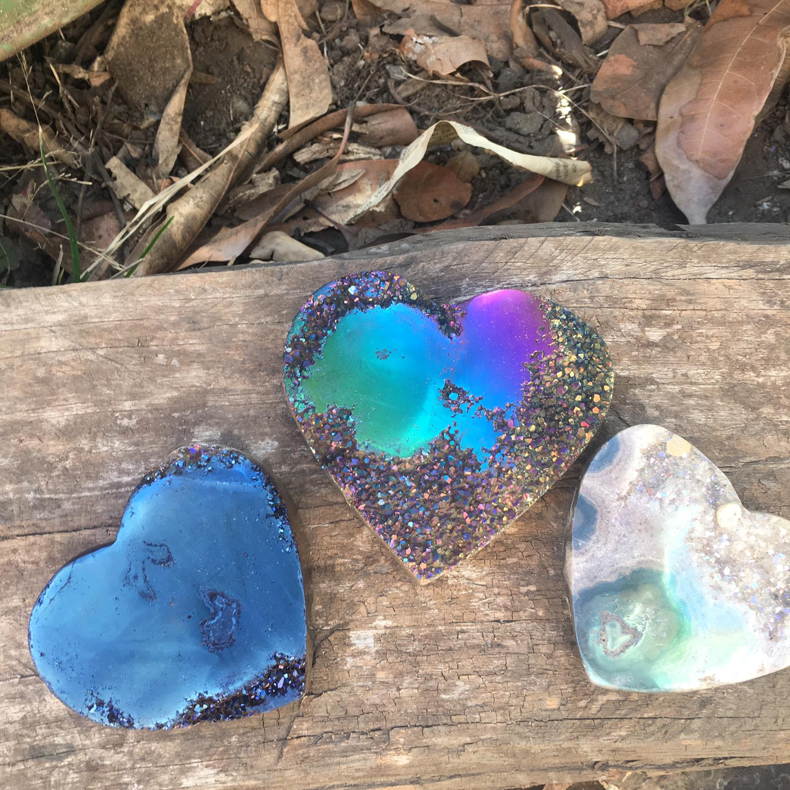 Stones from Uruguay - Titanium Coated Amethyst Druzy Stalactite Eye Hearts