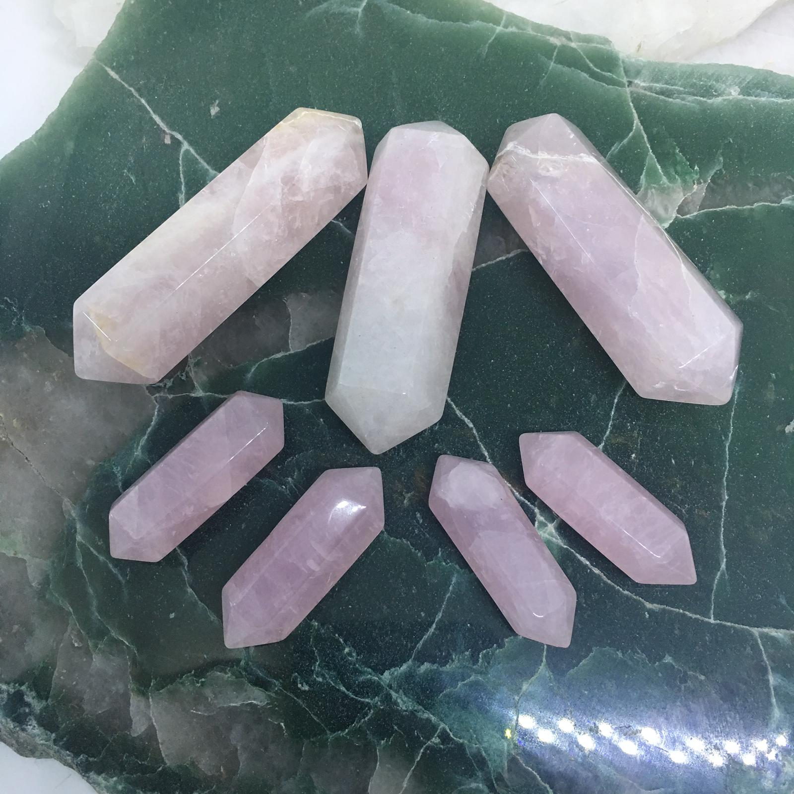 Stones from Uruguay - Rose Quartz Double Terminated Crystal Polished Point for Meditation or Healing