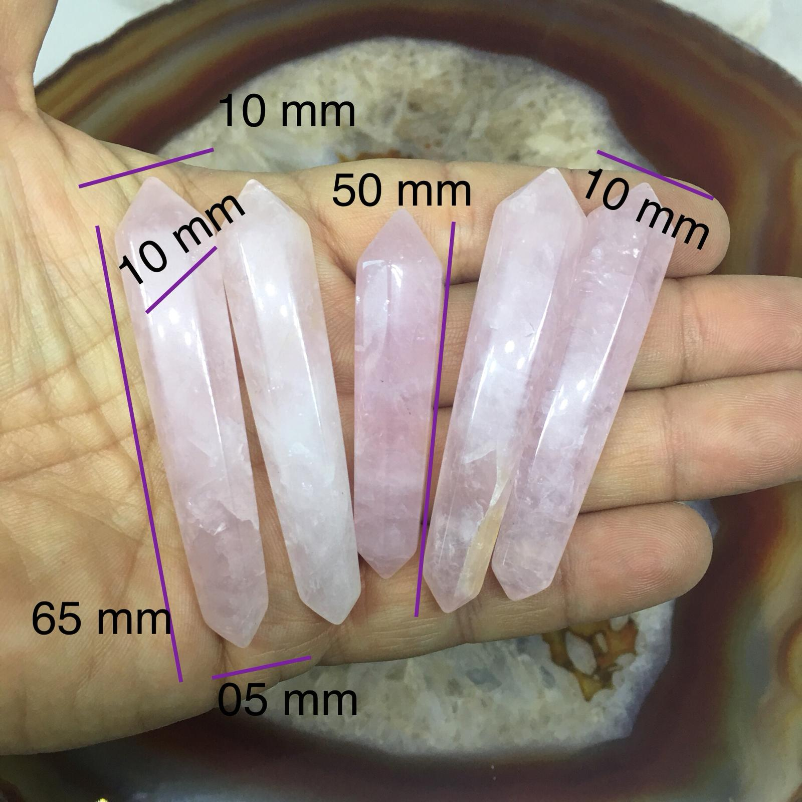 Stones from Uruguay - Rose Quartz  Polished  Double Terminated Points with Inclination