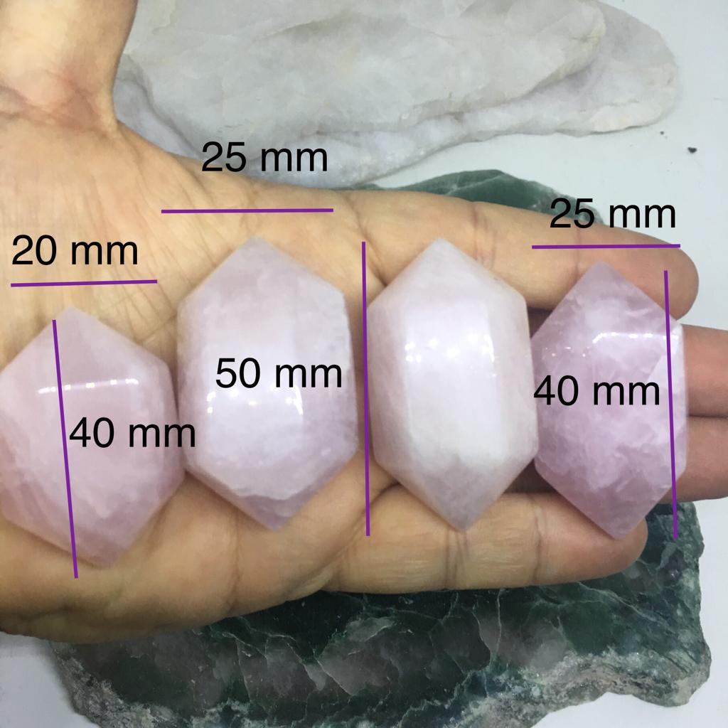Stones from Uruguay - Rose Quartz Polished Double Terminate Points for Jewelry Making