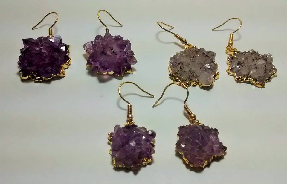 Stones from Uruguay - Amethyst Druzy Rose Pairs with Electroplating,10-25mm
