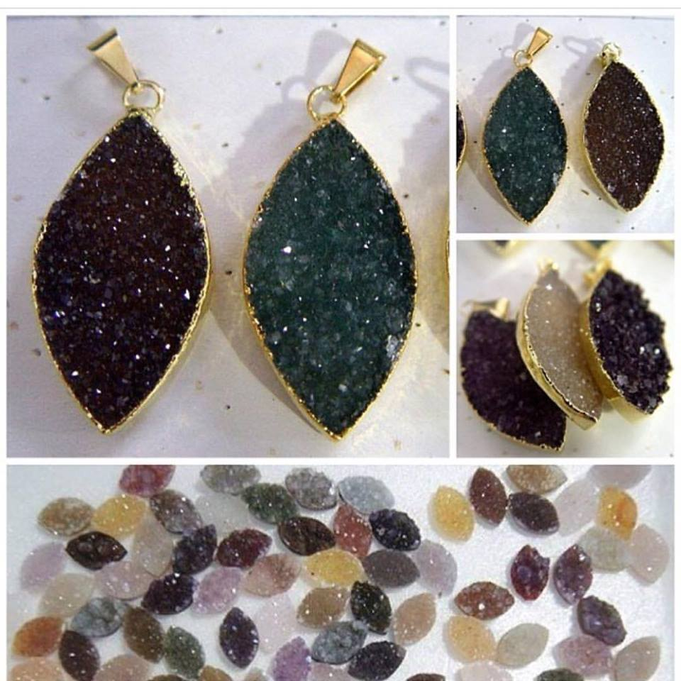 Stones from Uruguay - Natural Druzy Marquise Pendants