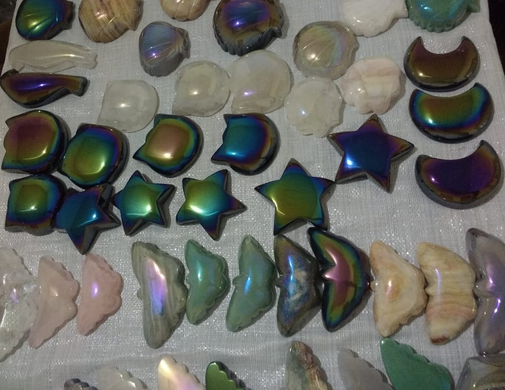 Stones from Uruguay - Titanium Coated Quartz Gemstone shapes