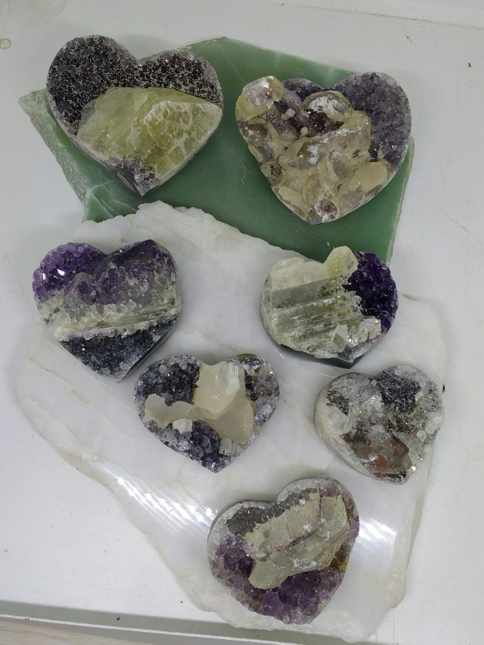 Stones from Uruguay - Amethyst Druzy Hearts with Calcite