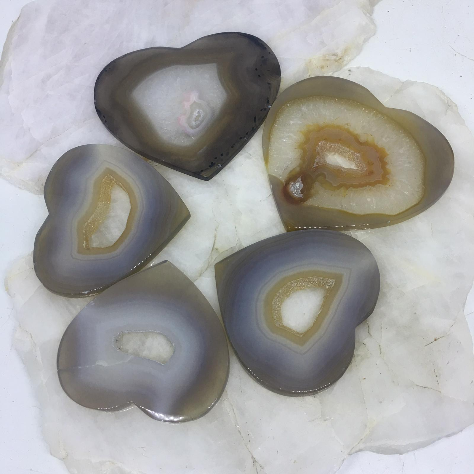 Stones from Uruguay - Agate Druzy Hearts with  Druzy Hole ( Flat Top and Bottom)