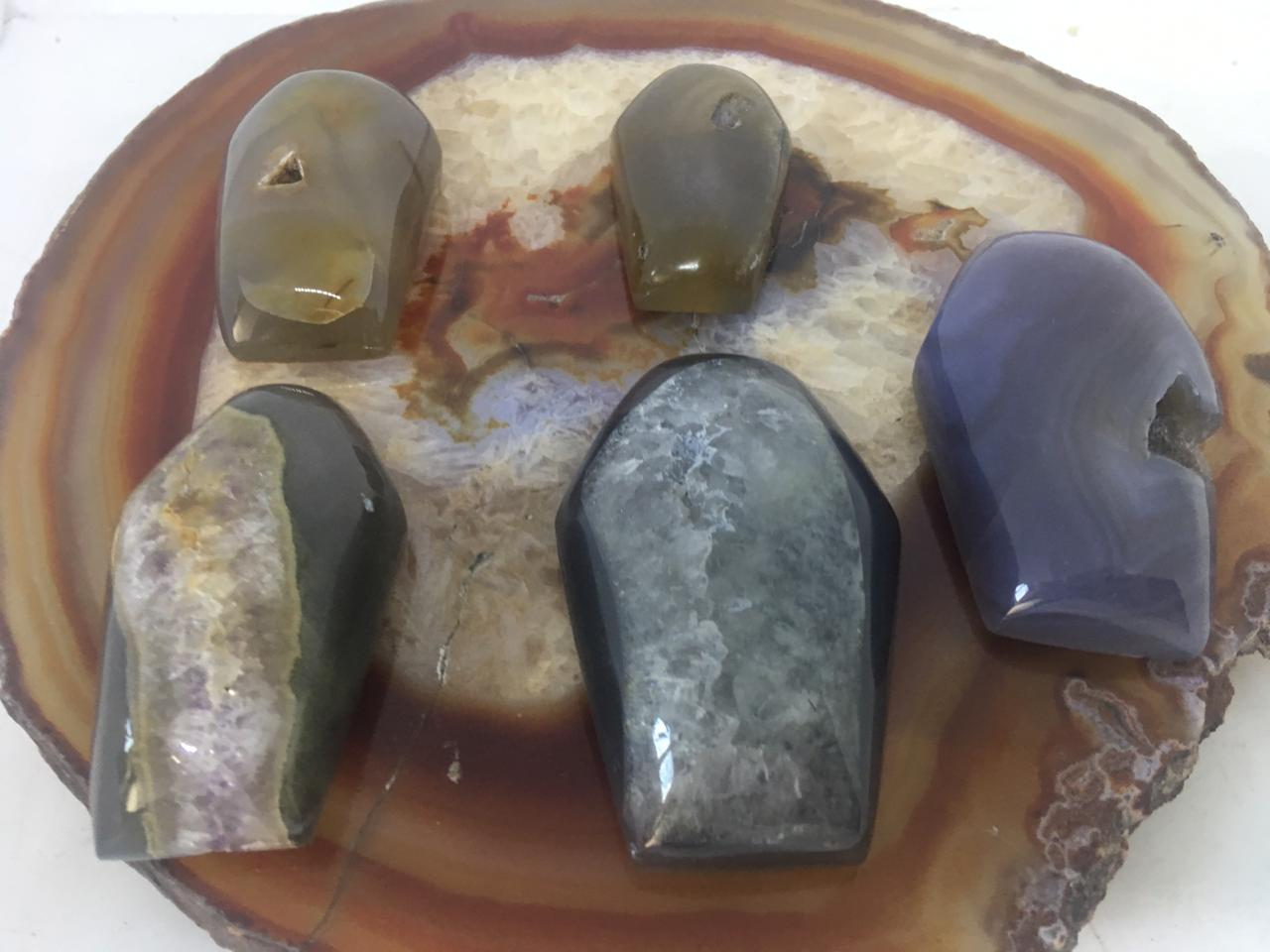 Stones from Uruguay - Natural Agate Druzy Coffin Cabochons, 7-10cm