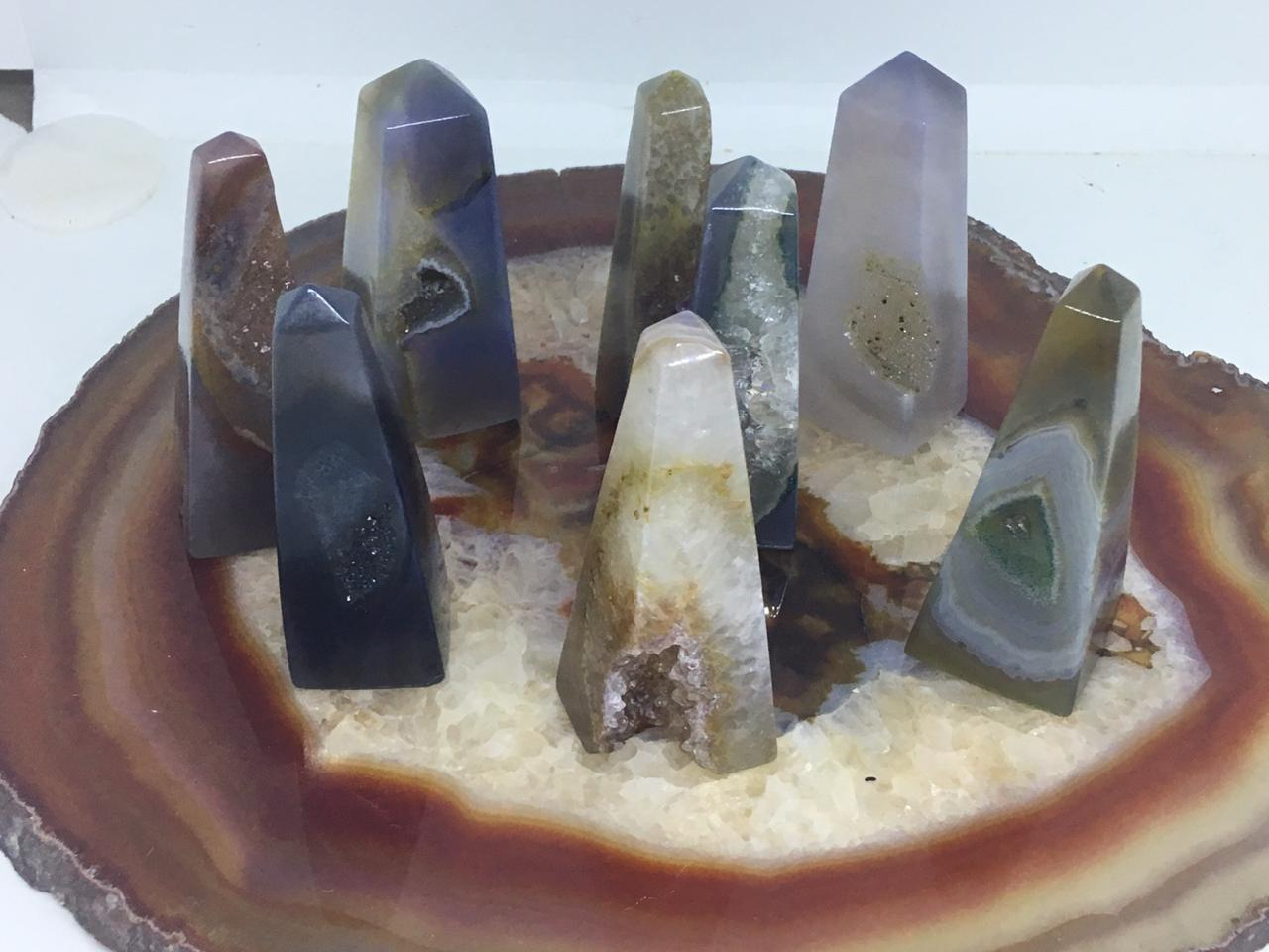 Stones from Uruguay - Agate Geode Druzy Obelisks  for Jewelry Making or Wire Wrapped