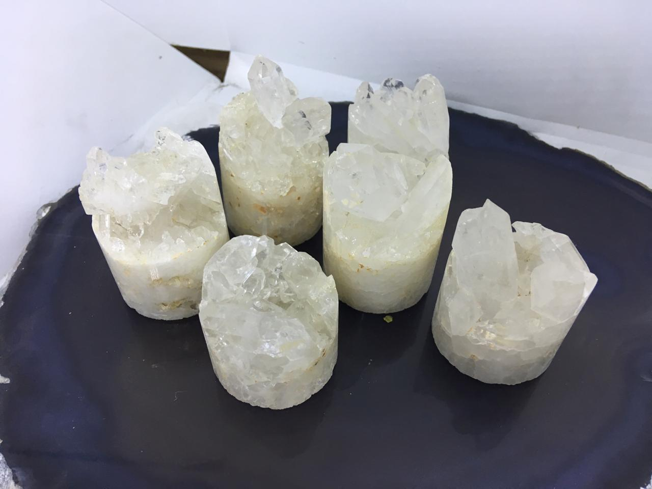 Stones from Uruguay -  Polished Clear Quartz Crystal  Druzy Cylinder