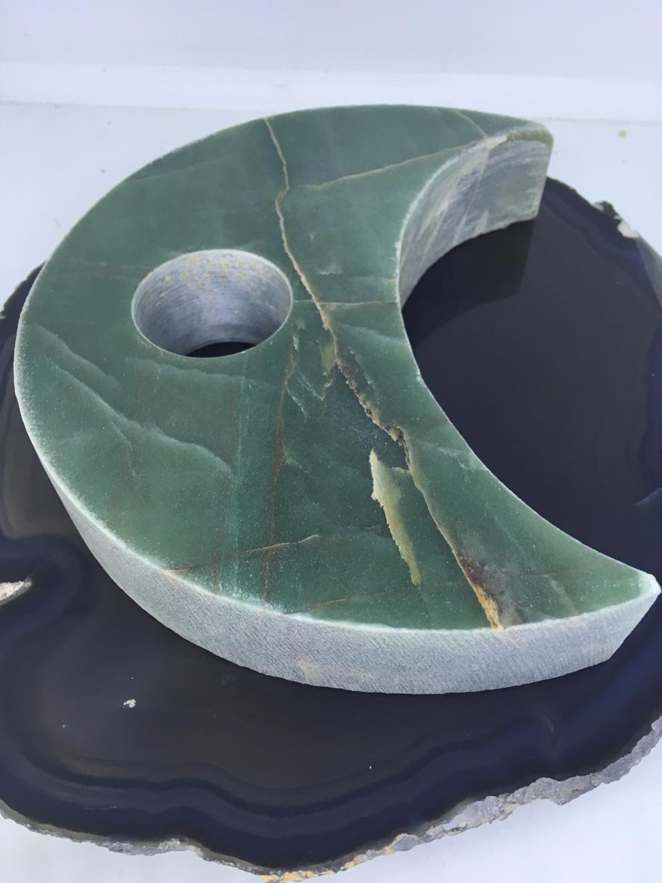 Stones from Uruguay - Green Aventurine Crescent Moon Candle  Holder