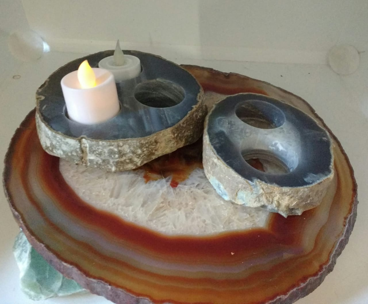 Stones from Uruguay - Natural Agate Thick Geode Slice Candle Holders
