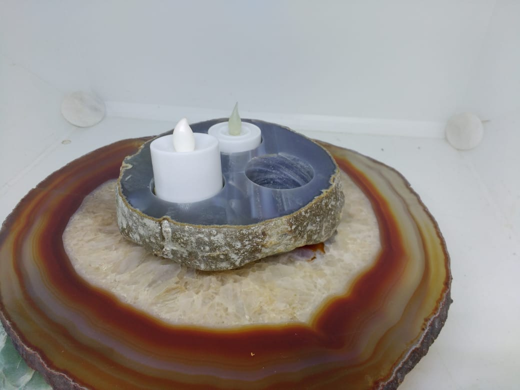 Stones from Uruguay - Thick Agate Slab Candle Holder with Three Holes