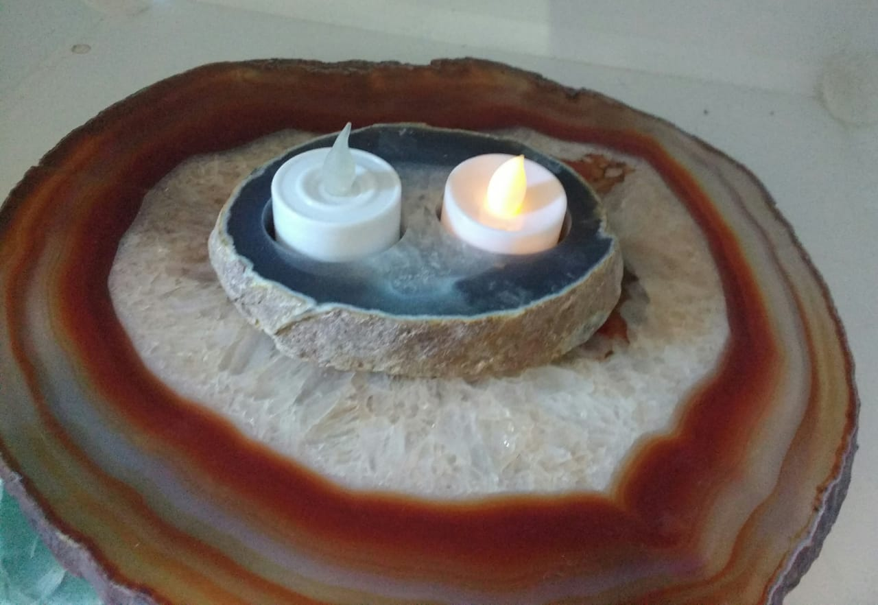 Stones from Uruguay - Thick Agate Tealight Candle Holder with Two Holes