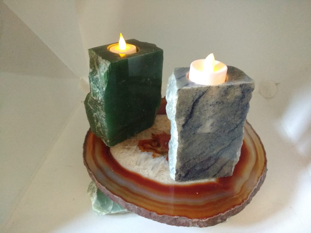 Stones from Uruguay - Skinny Blue Quartz  and Green aventurine  Candle Holders (top and two polished  sides)