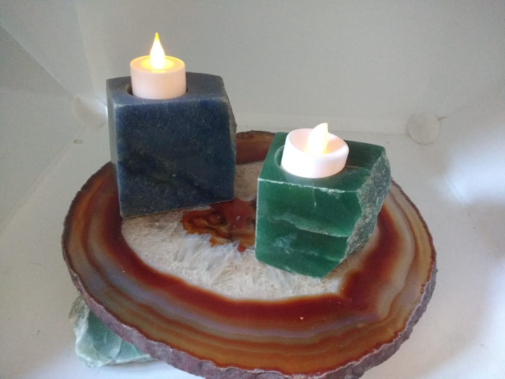 Stones from Uruguay -  Blue Quartz and Green Aventurine  Candle Holders with Three Polished Sides