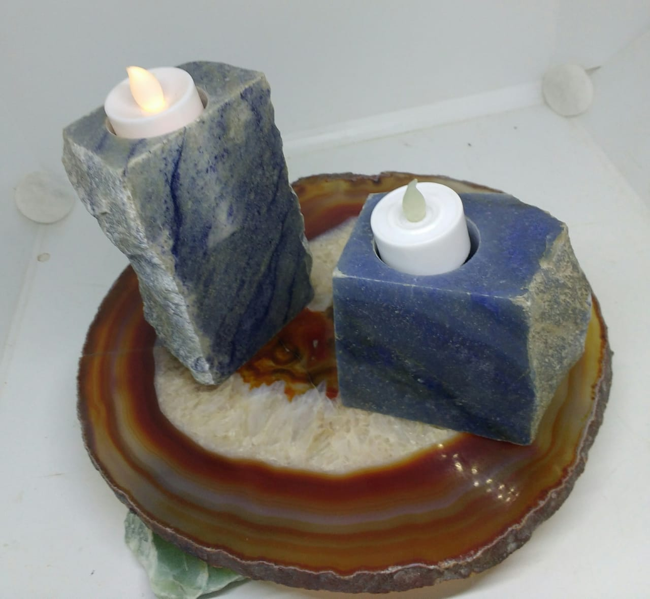 Stones from Uruguay - Polished Blue Quartz Candle Holders