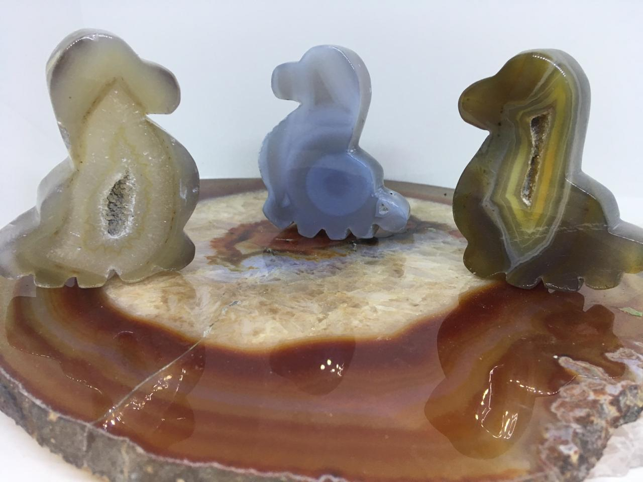 Stones from Uruguay - Agate Geode Druzy Dinosaur Cabochon with Flat Top