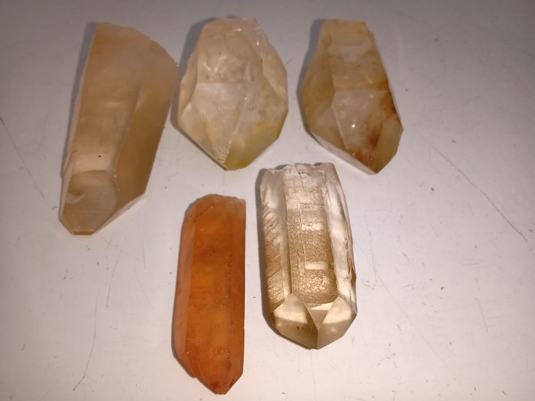 Stones from Uruguay - Tangerine Quartz Crystal Points  - Natural Tangerine Crysral Points