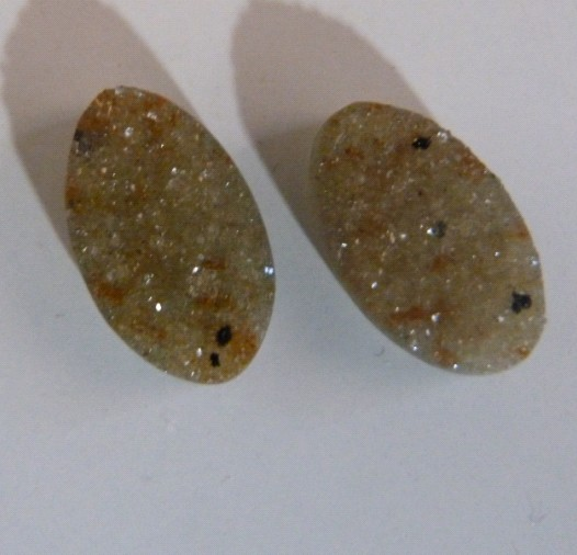 Stones from Uruguay - Druzy Oval Pair