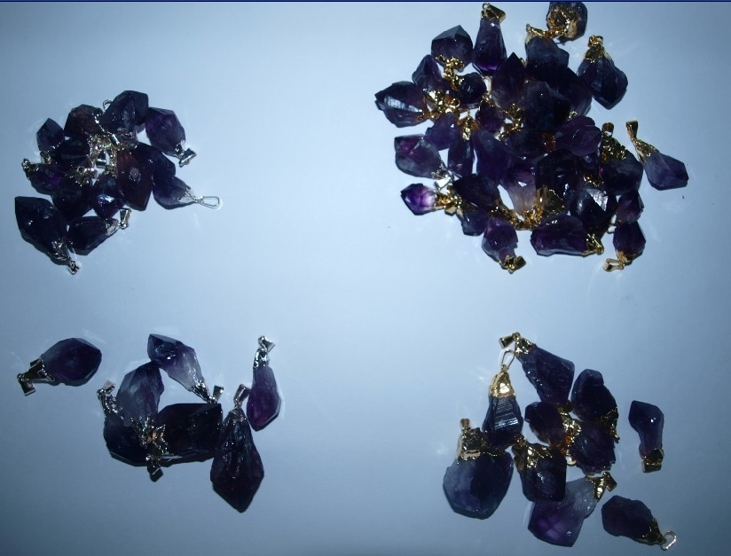 Stones from Uruguay - Amethyst Druzy Point Pendants