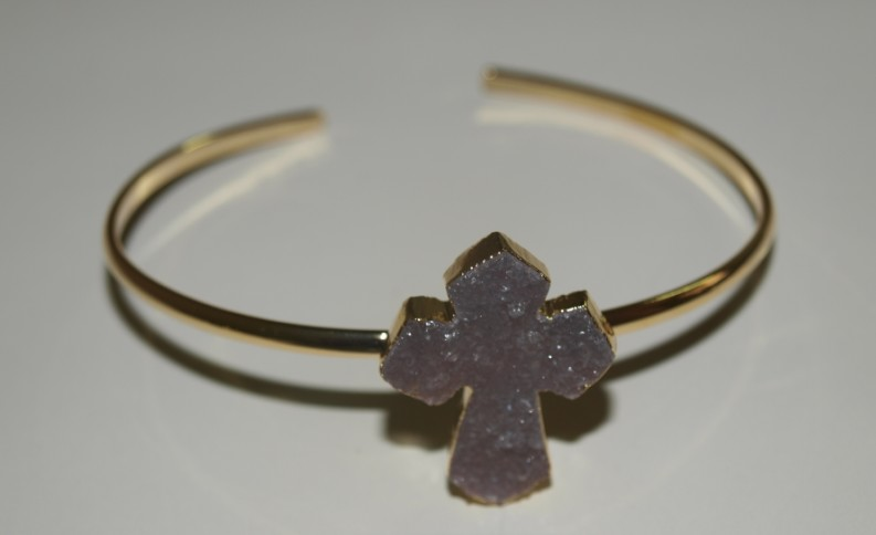 Stones from Uruguay - Bracelet with Druzy Cross II