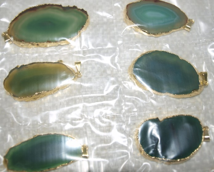 Stones from Uruguay - Green Agate Slices Pendants