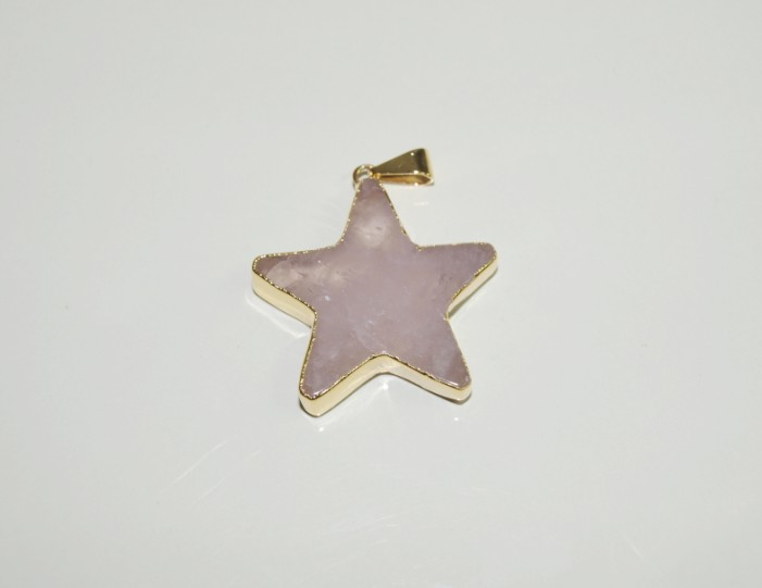 Stones from Uruguay - Rose Quartz Star Pendant with Plating
