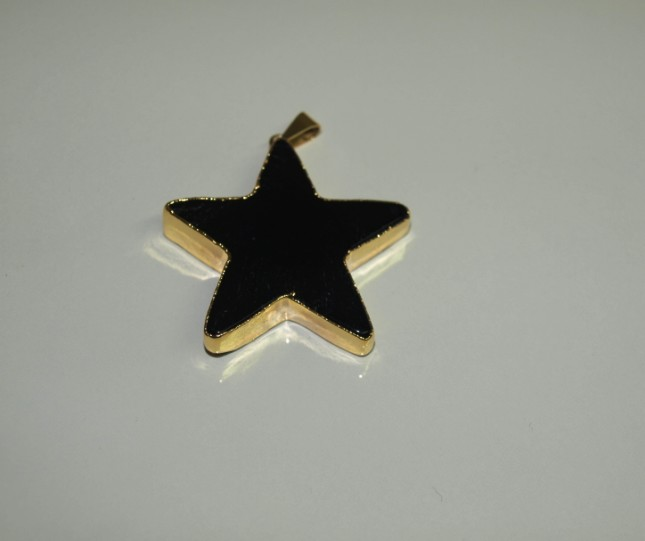 Stones from Uruguay - Black Obsidian Star Pendant, Gold Electroplated