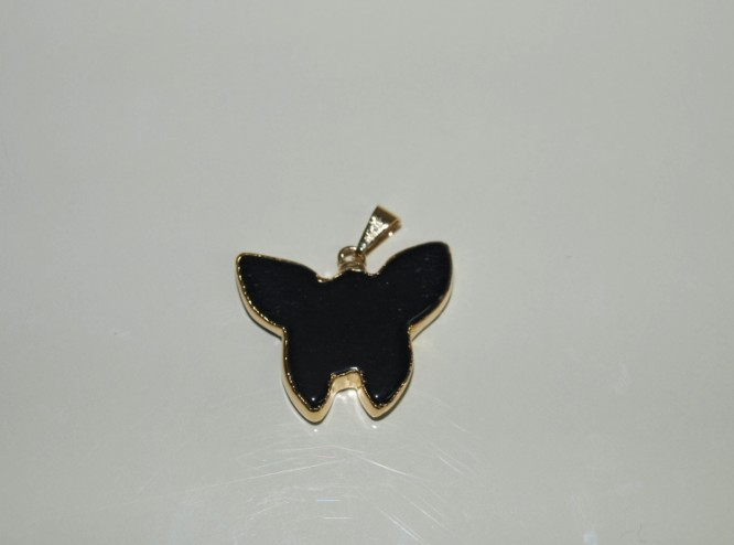 Stones from Uruguay - Black Obsidian Butterfly Pendant, Gold Electroplated