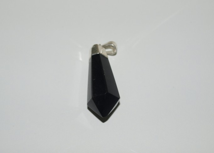 Stones from Uruguay - Teardrop Polished Point Pendant of Black Obsidian, Silver Electroplated, Size 30-40mm