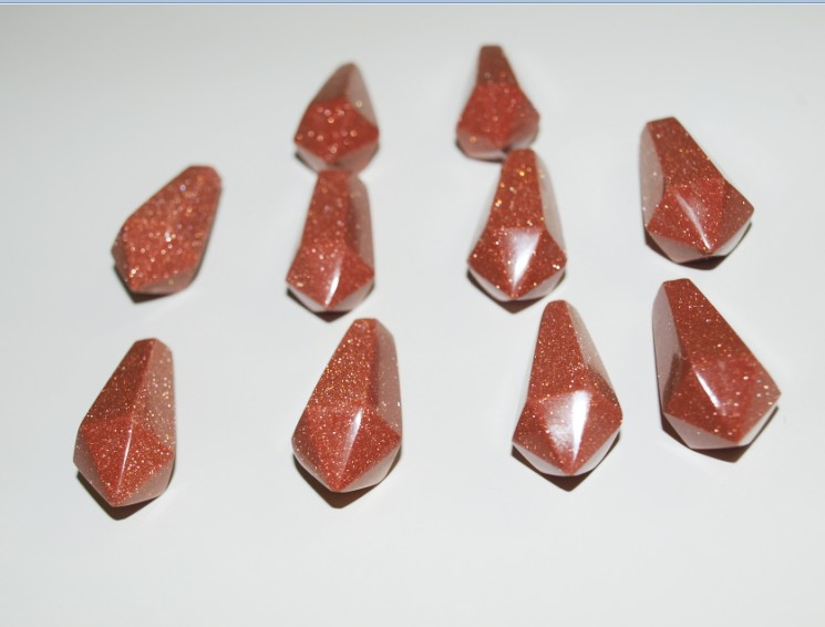 Stones from Uruguay - Red Goldstone Hexagonal Pendulum with 6 Facets